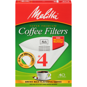 MELITTA CONE FILTERS #2 (WHITE) 40 CT. WITH MEASURED MARKINGS